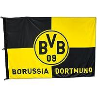 Borussia Dortmund BVB 11000400 Hissfahne 180x120cm mit Karo-Muster, Schwarz/gelb, 180 x 120 x 1 cm
