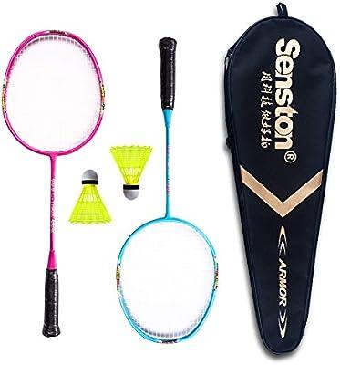 Senston Raqueta de Bádminton para niños Júnior (3 colores) Incluyendo 2 raqueta / 2 Volantes / 1 Bolsa