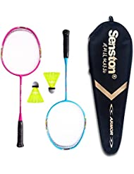 Senston Sets de badminton pour Enfants Junior Graphite Raquette de Badminton(3 couleurs)Y compris 2 Racket / 2 Volants / 1 Sac