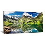 "Designart PT6083-40-20 ""Reflecting Mountain Lake Landscape"" Canvas Artwork, Green, 40x20"""