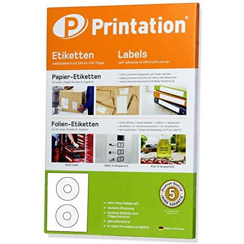 CD DVD Etiketten weiß selbstklebend rund blickdicht bedruckbar - 50 Aufkleber/Sticker auf 25 Blatt DIN A4 Papier - Durchmesser 117 mm - MADE IN GERMANY