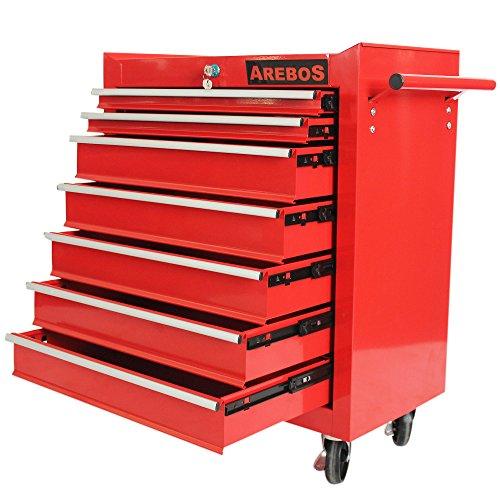 Preisvergleich Produktbild Arebos Werkstattwagen 7 Fächer rot ( zentral abschließbar,  Anti-Rutschbeschichtung,  Räder mit Festellbremse,  Massives Metall)