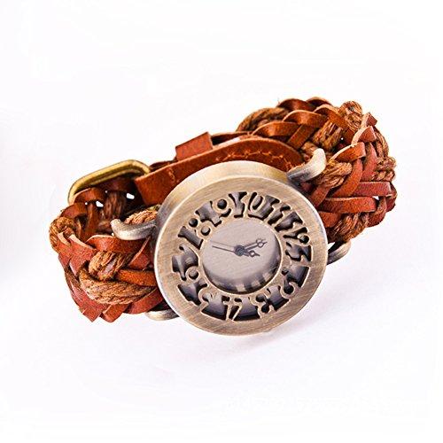 Damen Armbanduhren Für Retro Hohlen Kopf und Leder Stricken, Quarz Armband Uhren, Modische Armbanduhren Für Frauen Geschenke -