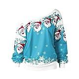 NPRADLA 2018 Herbst Winter Damen Blusen Elegant Festlich Große Größen Frauen Tops Schlitzkragen Frohe Weihnachten Weihnachtsmann Druck Skew Kragen Sweatshirt (S/38, Himmelblau)