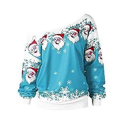 OverDose Damen Spukhaus Stil Frauen Halloween Kürbis Teufel Sweatshirt Pullover Tops Bluse Shirt Jumper Party Clubbing Home Suit(K-A-Himmelblau,38 DE/S CN)