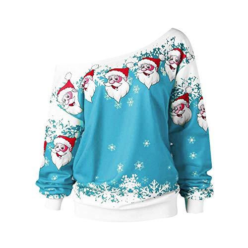 OverDose Damen Spukhaus Stil Frauen Halloween Kürbis Teufel Sweatshirt Pullover Tops Bluse Shirt Jumper Party Clubbing Home Suit(K-A-Himmelblau,EU-46/CN-XL)
