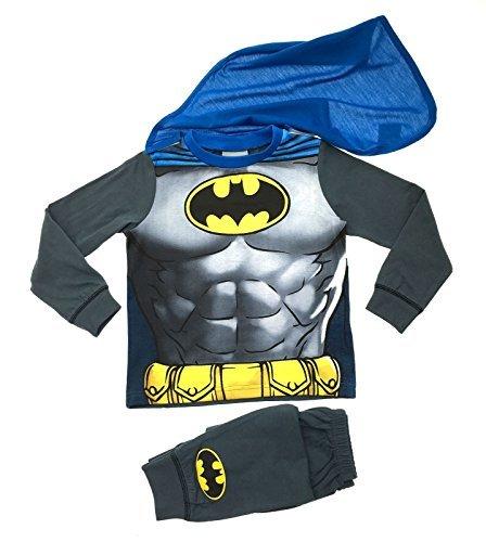 Kinder Jungen Kostüm Geschnürt Play Kostüme / Schlafanzug Pyjama Pj Pjs Set Buzz Lightyear Superman Spiderman Batman Party Größe EU 1-8 Jahre - Batman mit Cape, 116