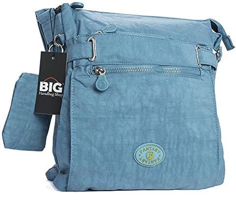 BHBS Femmes Tissu Multi Compartiment à glissière Bandoulière Sac Messager 26x30 cm (LxH) (Teal)
