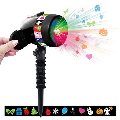 Star Shower SLIDE SHOW 12 LED Motivkombis bewegt oder fixiert Easy Slide Technologie 12 Motivkombinationen bewegt und fixiert Weihnachten Halloween Karneval Feste aller Art Spitzaufsatz Mediashop