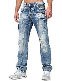 Cipo Baxx Homme Créateur Jeans Coupe droite bestcikt Millésime Regardez Insipide toile D'occasion Été Boutons fermeture à bouton Coutures décoratives