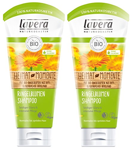 lavera Haar Shampoo Ringelblume ∙ Seidiger Glanz & intensive Pflege ∙ vegan ✔ Bio Haarshampoo ✔ Natural & innovative Hair Care ✔ Naturkosmetik ∙ Haarpflege 2er Pack (2 x 200 ml)