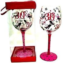 Idea regalo per 30° compleanno, grande bicchieri da vino, colore: nero a pois rosa, motivo: scarpe