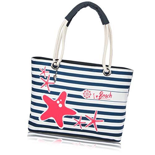 b7d6c1a77111a Robin Ruth Strandtasche Canvas blau weiß gestreift rote Seesterne Shopper  OTG2096BW
