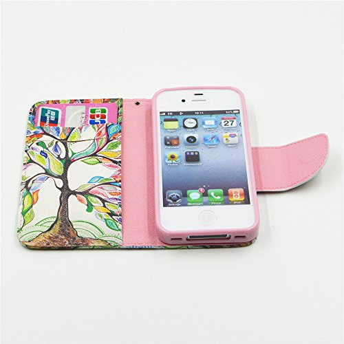 Nutbro 4S Case, iPhone 4 Case, iPhone 4S Case Leather, [Stand Feature] with Built-in Credit Card Slots Wallet Case For iPhone 4 4S HX-4S-17