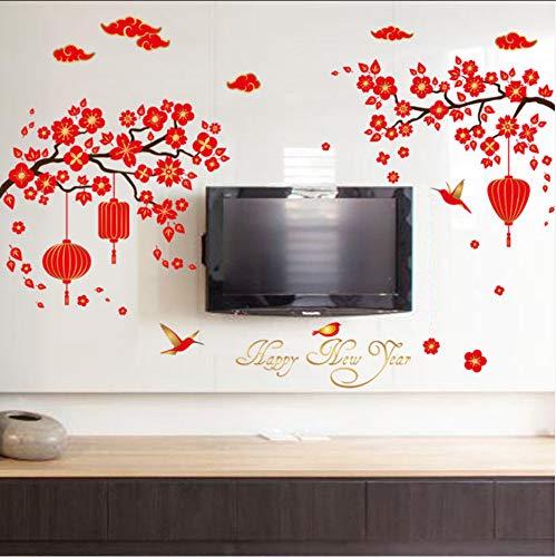 Ljtao Aufkleber Großhandel Neujahr Laterne Xiangyun Wohnzimmer Veranda Einstellung Wand Dekorative Verbundglas Window135X91Cm