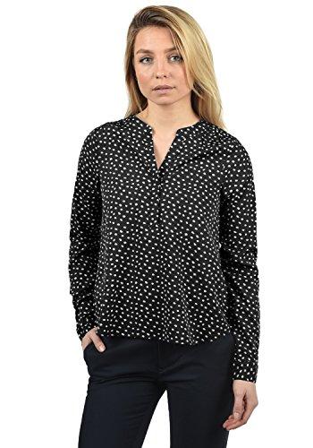 BlendShe Amelia Damen Lange Bluse Langarm Mit V-Ausschnitt Und Knopfleiste In Verschiedenen Prints Loose Fit, Größe:XS, Farbe:Black dot (10010) - Damen Schwarz Nadelstreifen