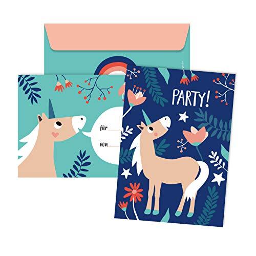 JulicaDesign Einladung Einhorn Geburtstag | 6 Karten mit Umschlag | Einhorn Party