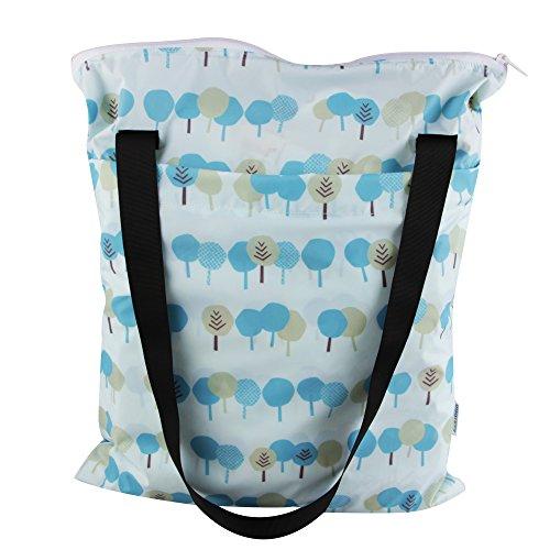 kakiblin viaje bebé en húmedo y seco bolsa de pañales, impermeable, desodorante (3piezas) azul azul