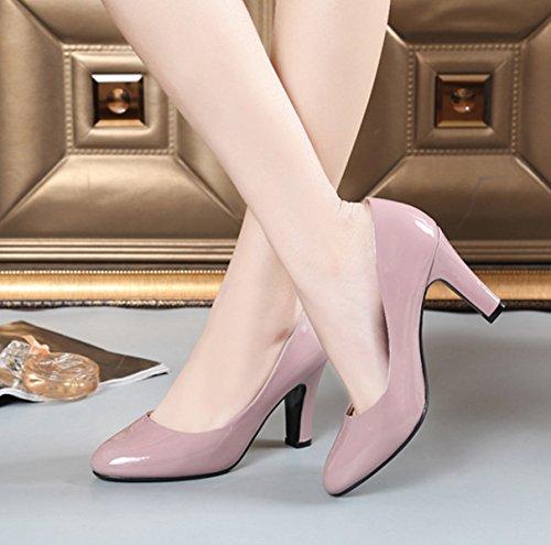 Damen Pumps Slip Lackleder Einfache Büro Arbeitschuhe Atmungsaktiv High Heels Schuhe Pink