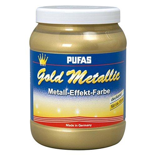Pufas Gold Metallic Effect Metall-Effekt-Farbe 1,5 L goldener deckender Effekt (Gold-metallic-wandfarbe)