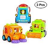 STOBOK Baby Spielzeugauto Set Baufahrzeuge Spielzeug Lernspielzeug Reibung Angetrieben für Kinder Kleinkinder 3 STÜCKE