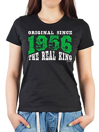 Geburtstags/Jahrgangs-Shirt/ Fun-Shirt Damen: Original Since 1956 The Real King schöne Geschenkidee Schwarz