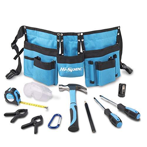 Hi-Spec 16-teiliges Kinder-Werkzeug-Kit mit Werkzeuggürtel in Kindergröße, Arbeitshandschuhen aus echtem Leder, Schutzbrille, Holzlineal, ECHTE Werkzeuge