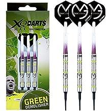 Michael Van Gerwen MVG Green Demolisher - 70% Tungsten Darts (Steel Dartpfeile) mit Flights, Schäfte & Red Dragon Checkout Card