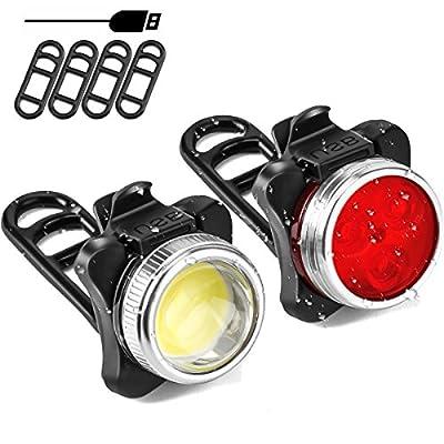 LED Fahrradbeleuchtung Set, SOKLIT Wiederaufladbare LED Fahrradlampen LED Frontlicht und Rücklicht Set Neustes Dimmbares Vorderlicht( 4 Lichtmodi, 2 USB-Kabel, 4 Silikonbefestigungsgurten) Ideal für Mountainbikes,Straßenrädern,Camping usw.