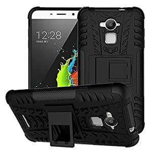 Coolpad Note 3 Shockproof Case, Tough Heavy Duty Hybrid Armor Back Cover Build-in Kickstand (Black) by HundoP Club