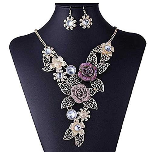 Liquidazione offerte Fittingran Set di Gioielli da Donna Elegante Vintage con Fiore Dichiarazione Orecchini