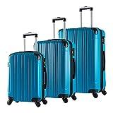 WOLTU RK4208ts, Reise Koffer Trolley Hartschale Volumen erweiterbar, Reisekoffer Hartschalenkoffer 4 Rollen, M/L / XL/Set, leicht und günstig, Türkis 3er Set (M+L+XL)