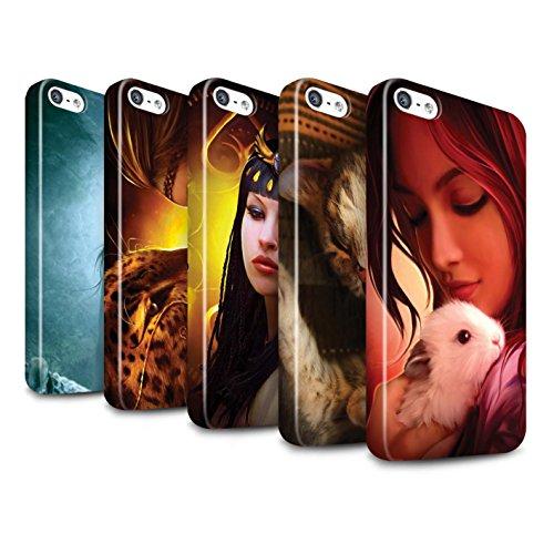 Officiel Elena Dudina Coque / Clipser Brillant Etui pour Apple iPhone 5/5S / Le Calin/Chiot/Chien Design / Les Animaux Collection Pack 16pcs