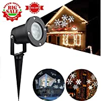 Christmas Lights Outdoor Projector, URPIRE LED Snowflake Light Waterproof Landscape Lamp Motion Sparkling Snowfall for Indoor Outside Garden Party Stage Holiday Home Wall Xmas Trees Decor