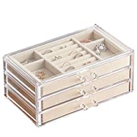 HerFav Jewellery Box for Women with 3 Drawers, Velvet Jewellery Organiser for Earring Bangle Bracelet Necklace and Rings Storage Clear Acrylic Jewellery Box Earring Holder