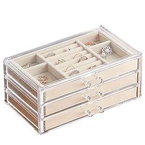 Schmuckschatulle für Damen Schmuckkästchen mit 3 Schubladen, Ring and Ohrring Schublade von HerFav, MEHRWEG