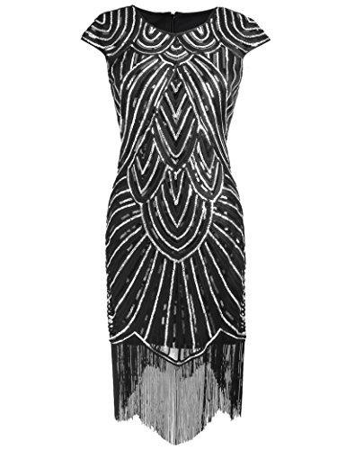 kayamiya Damen 1920er Paillette Perlen Verschönert Flügelärmeln Flapper Abendkleid S Schwarz