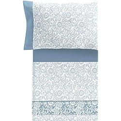 TrapposHome Armony Azul Juego de Sábanas Estampadas 50% poliéster - 50% Algodón 145 Hilos 3/4 Piezas Almohada, Bajera Ajustable y encimera (Cama 150cm)