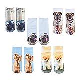 HWHColor Frauen gedruckte 3D-Socken-Baumwollnette Socken 5er-Pack