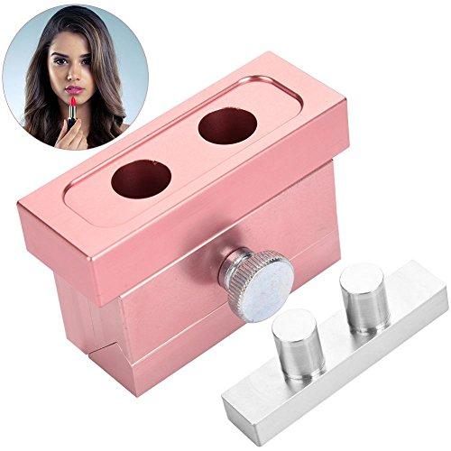 DIY Lippenstift Form mit Lippenstift Stripper, 2/4/6 Hohlräume 12,1mm Aluminiumlegierung Dual Verwendet Lippenstift Balm Füllen Kosmetik Cream Maker Werkzeug(2 Hohlräume) - Balm-lippenstift