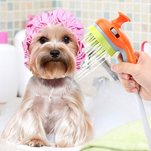 Pawaboo Pet Shower Sprayer, Multi-functional Handheld Pet Grooming Shower Bath Head Soothing Shampoo Brush Massage Comb Scrubber Pet Bathing Washing Tool for Dogs Cats Horses, Orange