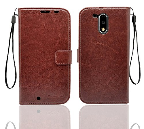 Bracevor Moto G4/ Moto G Plus (4th generation) Premium Leather Case *Inner TPU, Wallet Stand, Flip Cover - Executive Brown