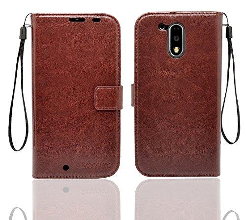 Bracevor Moto G4 /Moto G4 Plus (4th generation) Premium Leather Case *Inner TPU, Wallet Stand, Flip Cover - Executive Brown