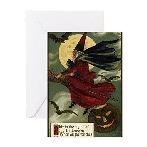 e Halloween fliegende Hexe – Grußkarte, Notizkarte, Geburtstagskarte, blanko Innenseite matt ()