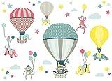 anna wand Wandsticker HOT AIR BALLOONS TAUPE/BLAU/KORALLE - Wandtattoo für Kinderzimmer/Babyzimmer mit Tieren in Heißluftballons - Wandaufkleber Schlafzimmer Mädchen & Junge, Wanddeko Baby/Kinder