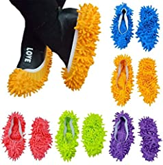 Idea Regalo - 10 pezzi (5 paia) mop pantofole scarpe di facile per pavimento polvere sporcizia capelli bagno ufficio cucina casa lucidatura spolverare pulizia, calzini piede morbido Lavabile, fibra di ciniglia 23,9 x 11,9 cm
