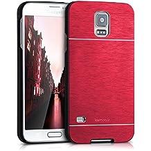 kwmobile Funda rígida de alta calidad para Samsung Galaxy S5 / S5 Neo / S5 LTE+ / S5 Duos con refuerzo de aluminio pulido en la parte trasera en rojo. Moderna funda protectora fabricada conforme a las normas de calidad más exigentes.