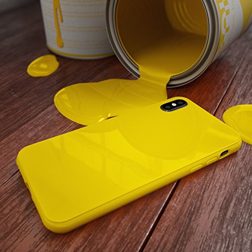 Apple iPhone X Coque Silicone de NICA, Ultra-Fine Housse Protection Cover Slim Premium Etui Résistante, Mince Telephone Portable Gel Case Bumper Souple pour iP-X Smart-Phone, Couleur:Noir Jaune