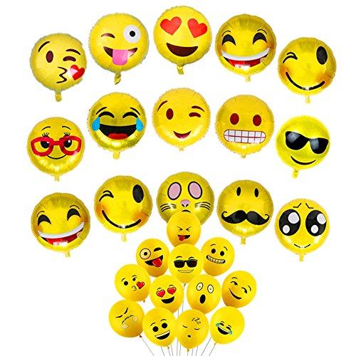 Zhiheng (Paquete de 25) Surtidos Emoji Globos de Mylar de látex Emoji Globos Sonriente Cara de Helio Globos para cumpleaños Boda Carnaval Festival graduación celebración Fiesta Suministros