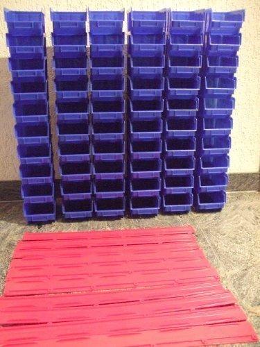 30 Stapelboxen (blau) Gr. 2 und 6 Wandschienen